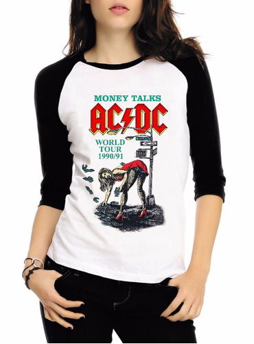 baby look raglan 3/4 acdc rock album back hell tnt camisa #2