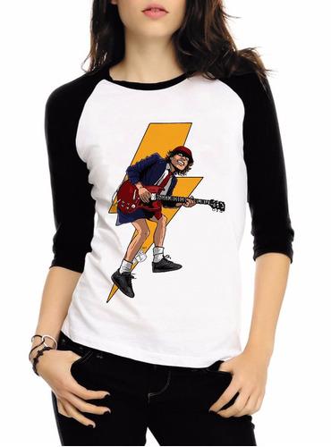 baby look raglan 3/4 acdc rock album back hell tnt camisa #4