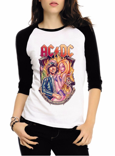 baby look raglan 3/4 acdc rock album back hell tnt camisa #6