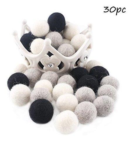 baby love home 30pcs cuentas de fieltro de lana gris blanco