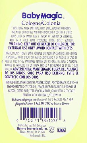 baby magic colonia, botella de 7 onzas
