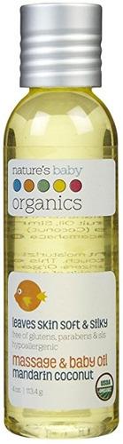 baby oil nbo - mandarín / coco - usda-95% orgánico - 4 oz