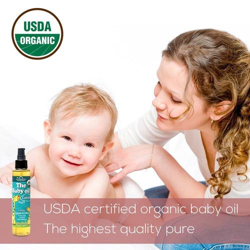 baby oil orgánico de estados unidos con caléndula, sin perfu