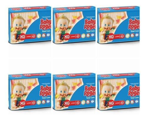 baby roger jumbo fralda infantil xg c/40 (kit c/06)