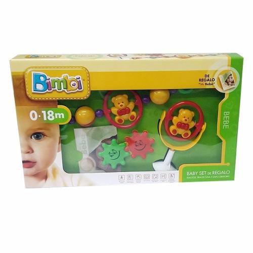 baby set de regalo bimbi (maraquita, sonajero, tira de cuna)