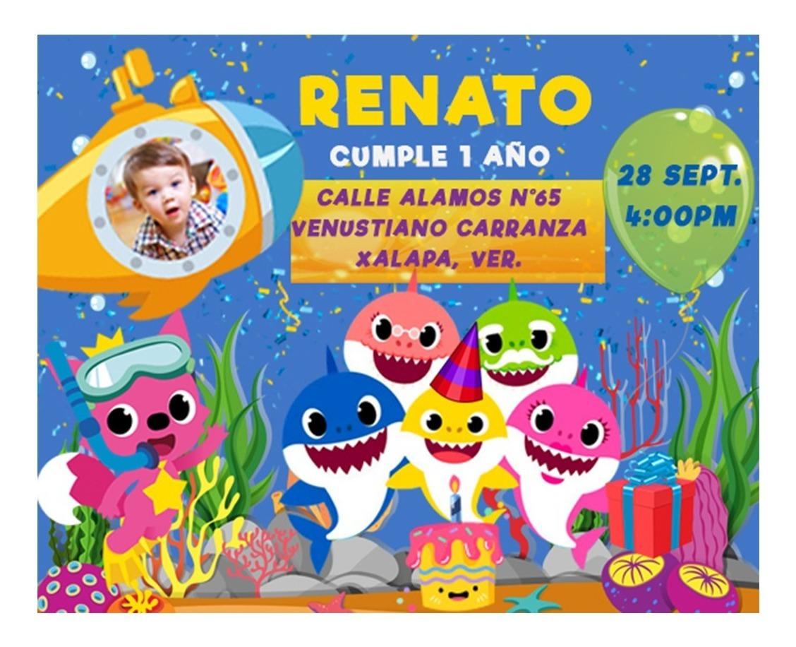 Baby Shark Niño Tarjeta Digital Imprimible