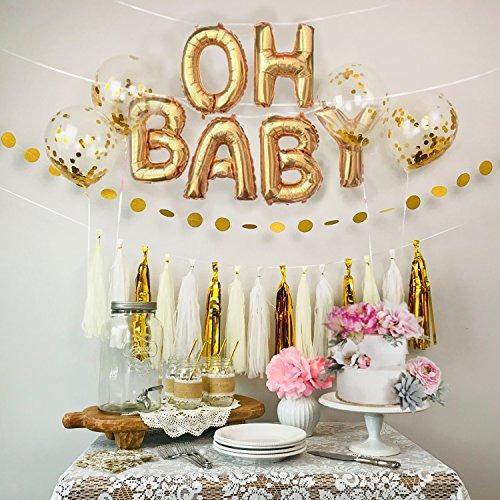 Baby Shower Decoración Dorado Y Blanco Oh Bebé Globos Conf
