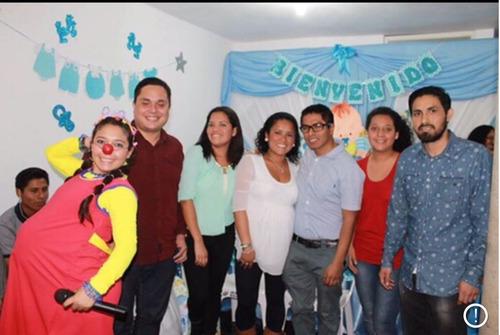 baby shower embarazada clown y dr. clown, fondos y mesas.