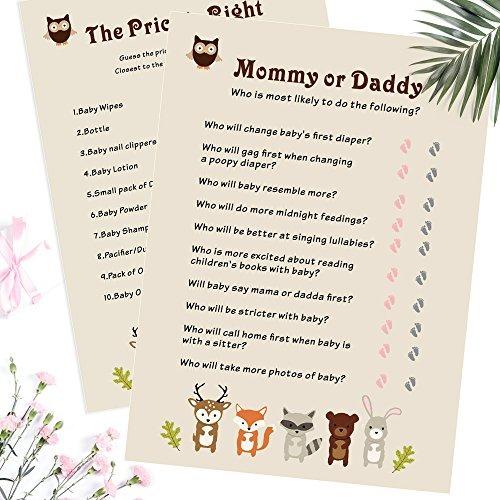 Baby Shower Juegos 5 en 1 Paquete de última neutral niño o niña 10 hojas por juego