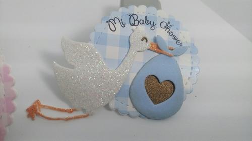 baby shower recuerdos cigueña distintivos  12 pz broches.
