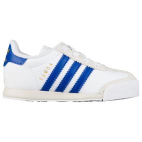 Baby Tenis adidas Samoa Originals Leather Blanco Azul Retro
