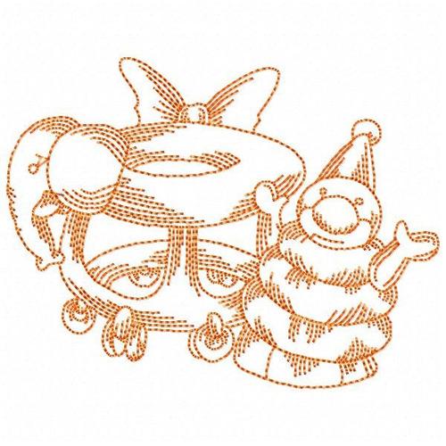 baby toys redwork - coleção de matriz de bordado