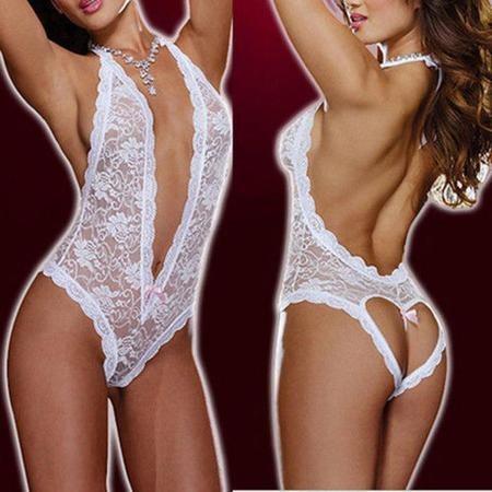 f33245882 Babydoll Blanco Vestido Lencería Fina Sexy Mujeres Encaje Ho ...