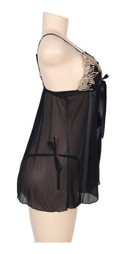 babydoll elegante talla grande color negro