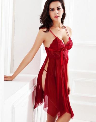 Babydoll lencer a mujer sexy y elegante color rojo for Ropa interior americana