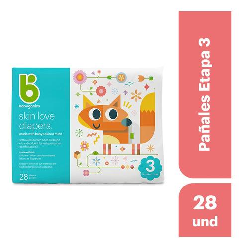 babyganics, pañales etapa 3, 28 unidades