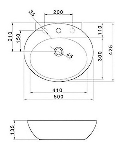 bacha 50 cms deca l39 oval apoyo 1 3 sin griferia orificios