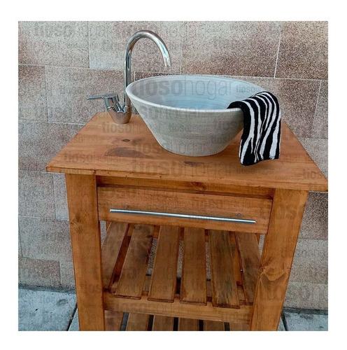 bacha apoyo artesanal rustica premium baño moderna 35 cm