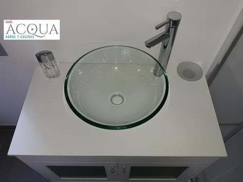 bacha apoyo vidrio transparente templado 40 cm estilo acqua