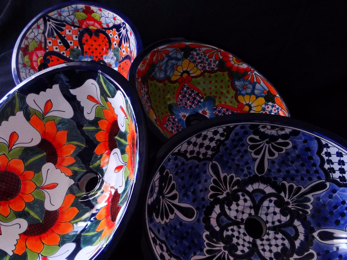 bacha artesanal mexicana pintada a mano - $ 3.780,00 en mercado libre - Bachas Para Bano Pintadas A Mano