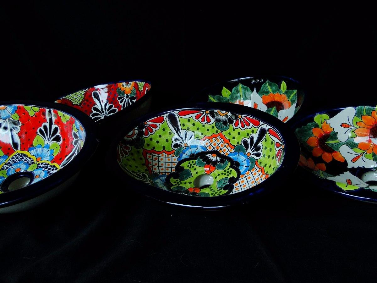 bacha artesanal mexicana pintada a mano - $ 3.500,00 en mercado libre - Bachas Para Bano Pintadas A Mano