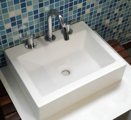 bacha blanca de marmol sintetico 45cm x36cm - 1 o 3 agujeros