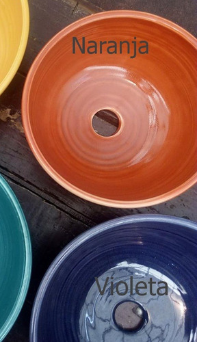 bacha cerámica artesanal 25cm-naranja violeta y azul -tigre-