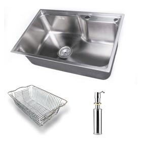 Bacha Cocina Aqua 65x43x21 + Canasto + Dispenser + Envío