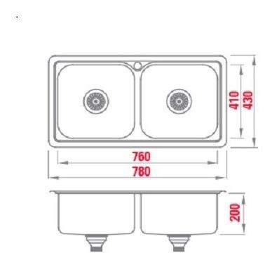 bacha cocina doble encastrable starken t7843 78x43x20 cuota