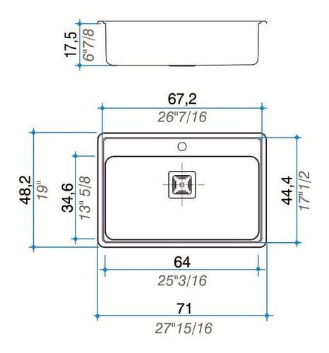 bacha cocina johnson pileta quadra max q71 a +4 acc cjn0115