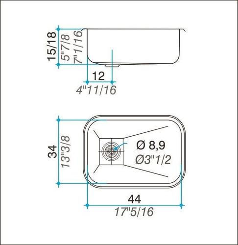 bacha cocina simple johnson 44x34x18 e44/18 acero