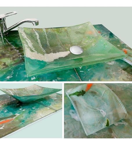 bacha de apoyo + mesada vidrio para baño a medida + jabonera