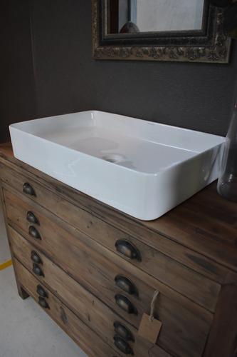 bacha de baño de apoyo - hoesch foster - rectangular blanco