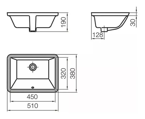 bacha de baño ferrum symi cuadra bajo mesada l334b