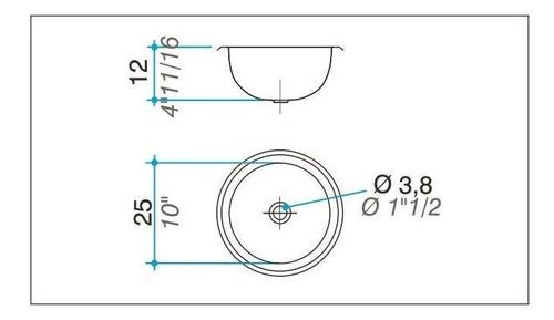 bacha de baño redonda johnson acero inoxidable 25x12 cm