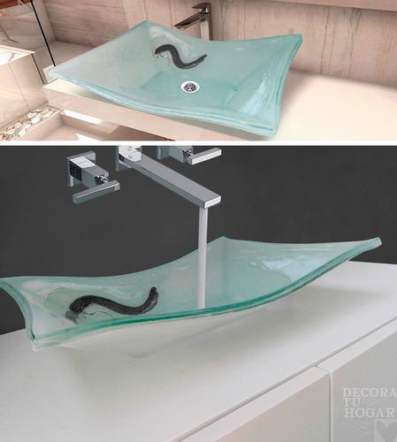 bacha de vidrio rectangular aguamarina 40x30x10 para baños