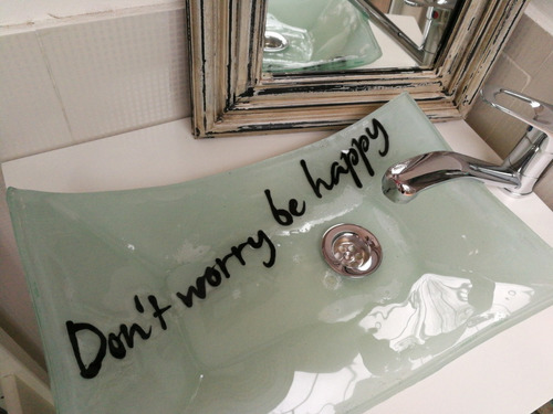 bacha de vidrio rectangular frases para toilette baño lavabo