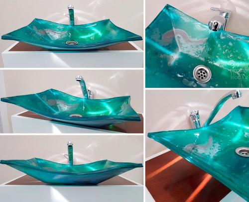 bacha de vidrio rectangular profunda 40x30x10 para baños