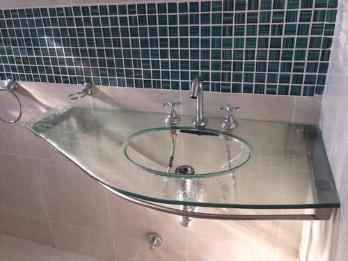 bacha de vidrio sívori con mesada 100x50cm s/ soporte