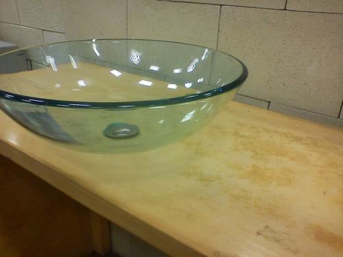 bacha de vidrio templado transparente de apoyo 42cm naffull