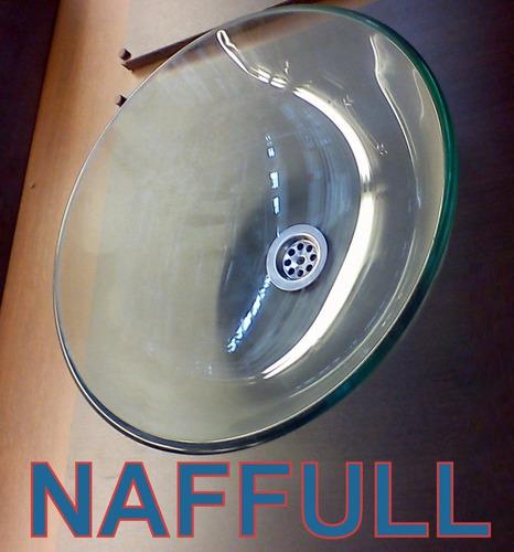 bacha de vidrio transparente de apoyo 42cm naffull