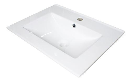 bacha embutir cuadrada 60cm porcelana monocomando baño loza