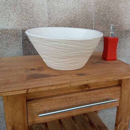 bacha fango eliptica artesanal piedra marfil 35cm oferta