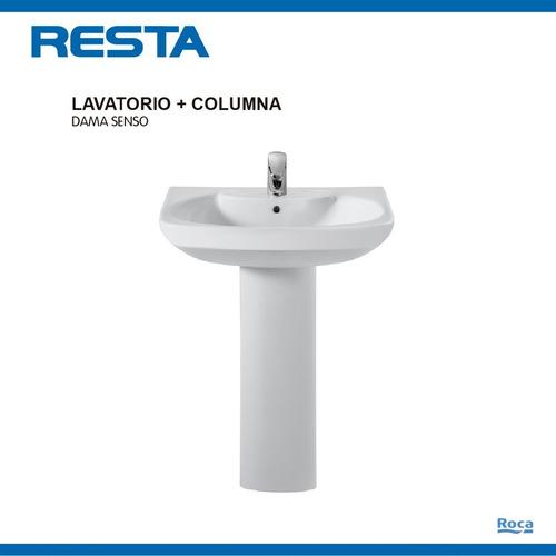 bacha lavatorio baño roca dama senso + columna