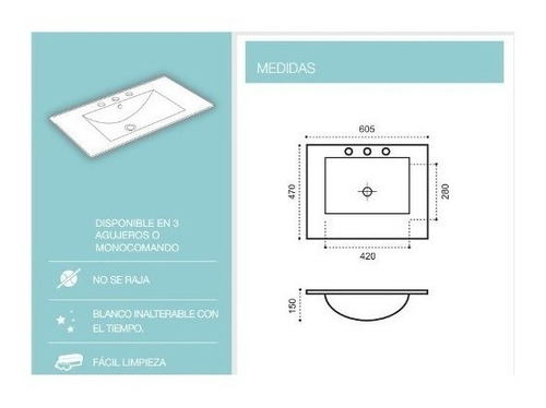 bacha lavatorio loza 60 cm  pringles plano monocomando blanc