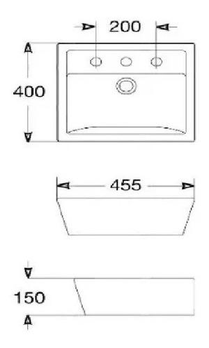 bacha lavatorio sendai roca 3 agujeros