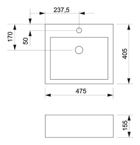bacha piazza cuadrada apoyo 117/1 agujeros para monocomando