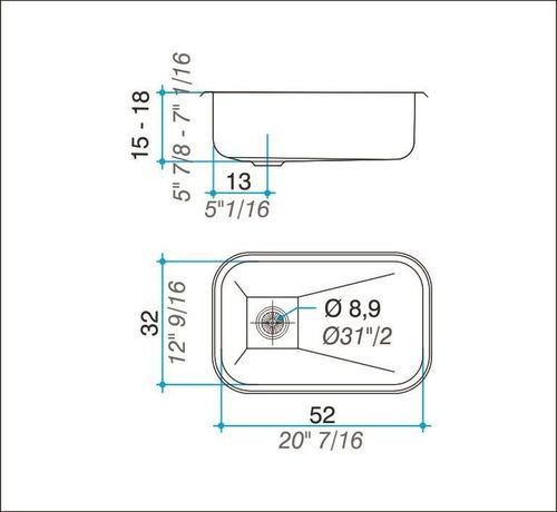 bacha pileta cocina johnson simple zz52/18 52x32 acero