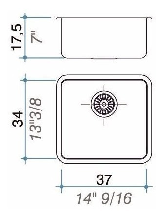 bacha pileta simple cocina johnson q37 acero inox. 37x34x17