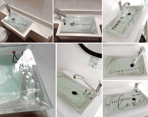bacha rectangular de apoyar vidrio frases a medida baño
